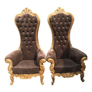 Italian Baroque Tufted Brown Velvet Wingback Chairs - a Pair