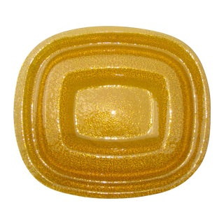 1960s Modern Amber Yellow Glass Server Tray For Sale