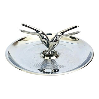 Art Deco Chrome Pincherette Ashtray or Ring Dish For Sale
