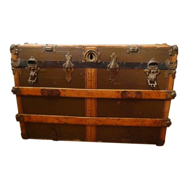 Fabulous Victorian Antique Canvas Leather & Wood Steamer Trunk For Sale