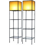 Image of Pair of Architectural Frederick Weinberg Modern Floor Lamps With Shelves For Sale