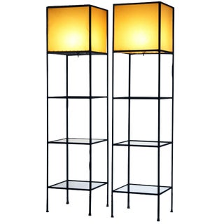 Pair of Architectural Frederick Weinberg Modern Floor Lamps With Shelves For Sale
