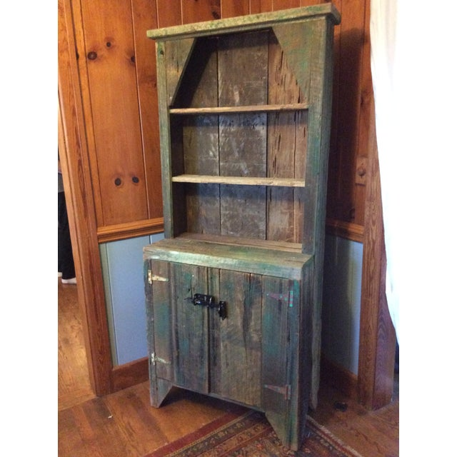 Primitive Wood Green Hutch For Sale - Image 9 of 13