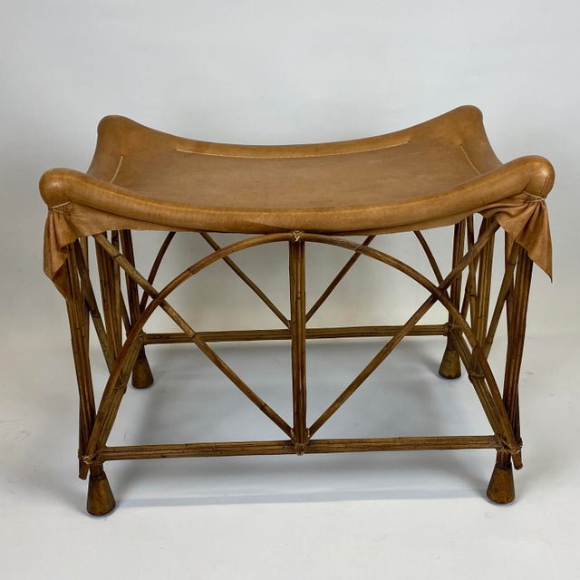 Late 20th Century Rattan Stool With Soft Leather Seat For Sale - Image 12 of 12