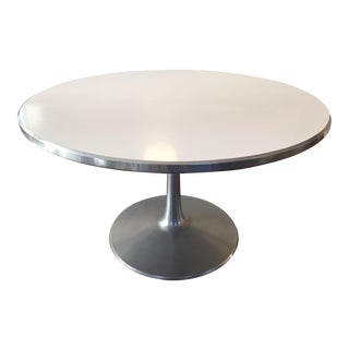 Mid-Century White Round Dining Table