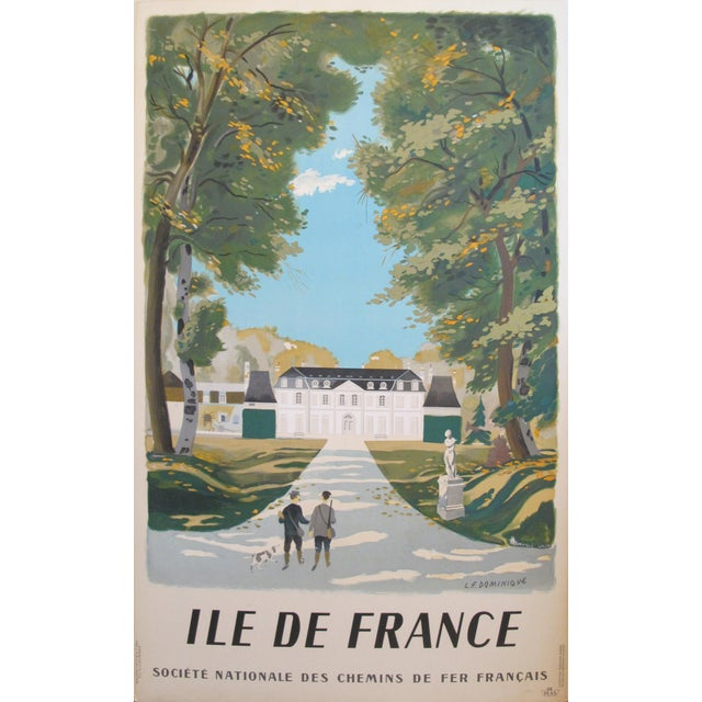 Vintage 1945 French Travel Poster, Ile De France For Sale