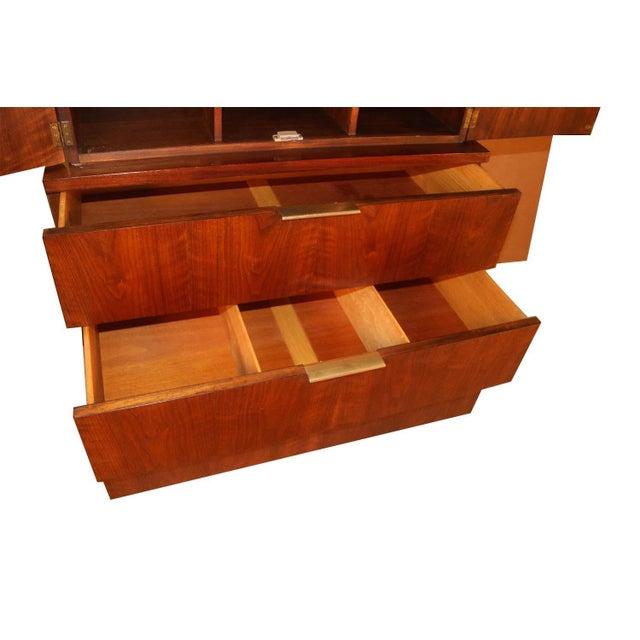 Johnson Furniture Co. John Stuart Mid Century Highboy Walnut Dresser For Sale - Image 4 of 13
