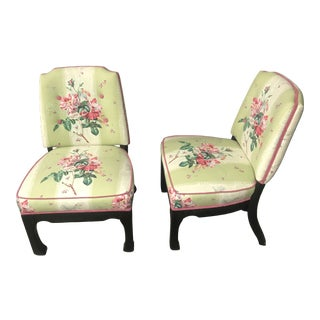 Pair of Floral Chintz Ming Slipper Chairs Colefax & Fowler Galicia Upholstery For Sale