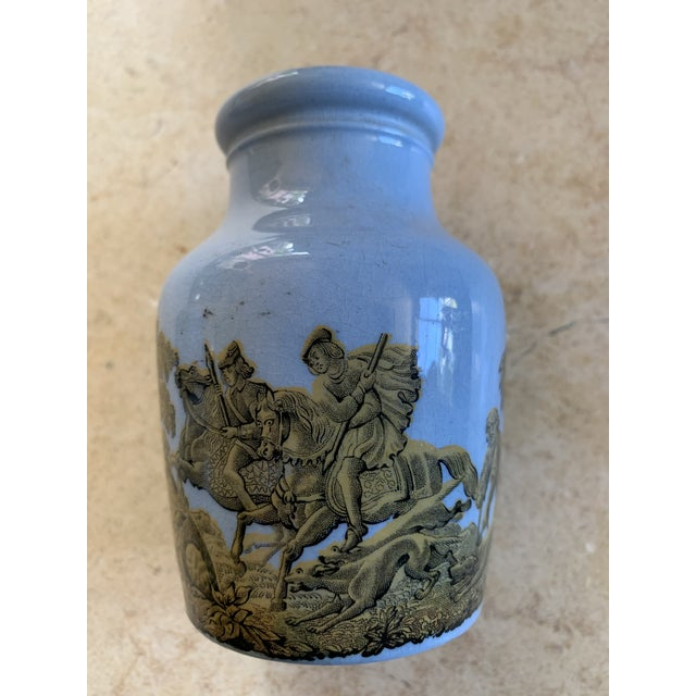 Lovely collection of 4 turquoise blue Pratt ware meat jars from the late 19thC . 3 boar hunt scenes and one rabbit and...