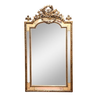 19th Century, French Louis XVI Carved Silverleaf and Goldleaf Parclose Mirror For Sale