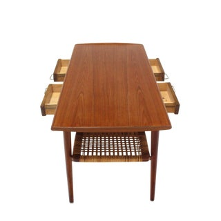 Danish Modern Teak Coffee Table Cane Shelf Rolled Edges 4 Storage Drawers For Sale