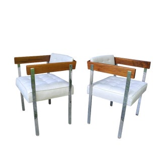 Pair of 20th Century Modern Upholstery Walnut and Stainless Steel Harvey Probber Pull-Up Chairs For Sale