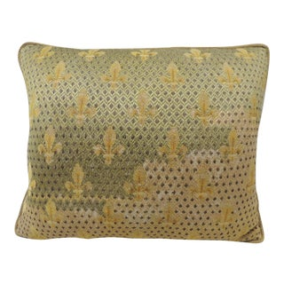 19th Century Fleur De Lis Embroidery Tapestry Decorative Pillow For Sale