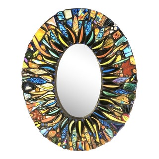 L. Dilon Bling Handmade Fused Glass Mirror For Sale