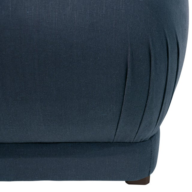 Contemporary Linen Navy Square Ottoman For Sale - Image 3 of 7