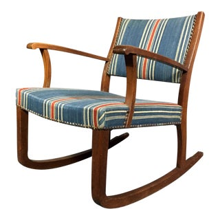 1940s Danish Rocking Chair, Oak and Wool Stripe For Sale