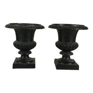 Vintage Petite Cast Iron Urns- A Pair For Sale