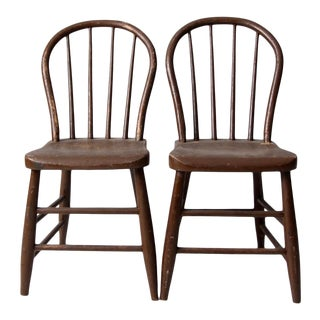 Antique Spindle Back Chairs - a Pair For Sale
