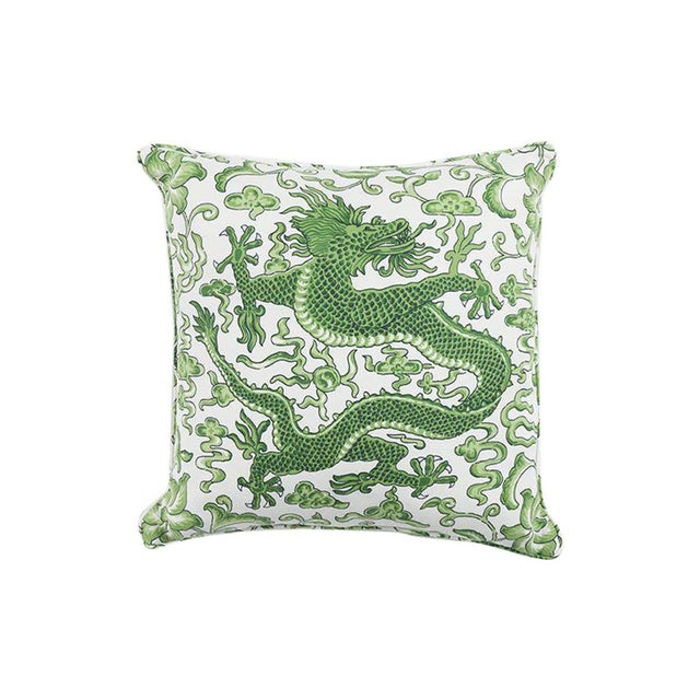 Transitional Scalamandre Chi'en Dragon Pillow, Jade For Sale - Image 3 of 3