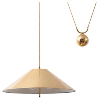 Chinese Hat Brass and Counter Weight Pendant Lamp, 1960s, Germany For Sale