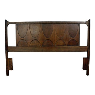 Mid-Century Modern Broyhill Brasilia Walnut Full/Queen Size Headboard For Sale