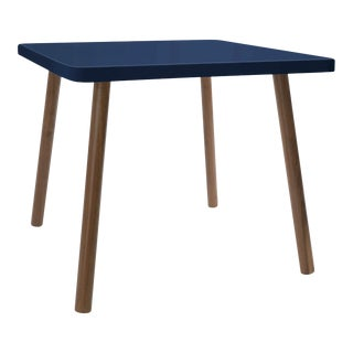 "Tippy Toe Small Square 23.5"" Kids Table in Walnut With Deep Blue Finish Accent For Sale"