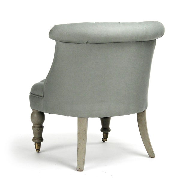 French Country Shelley Slipper Chair in Olive For Sale - Image 3 of 5
