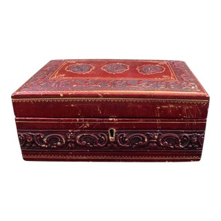 Vintage Italian Hand Tooled Red Leather Jewelry Box For Sale