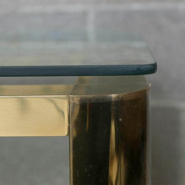 Pace Mid-Century Modern Brass and Floating Glass Cocktail / Coffee Table - Image 6 of 6