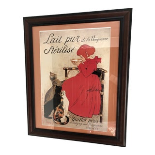 Vintage French Milk Advertisement Custom Framed and Matted Print With Sturdy Hanging Wire For Sale