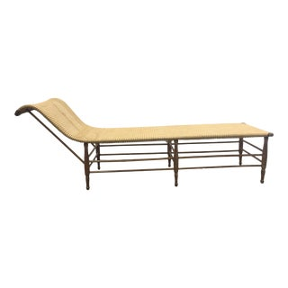 Vintage Rattan Chaise Lounge For Sale