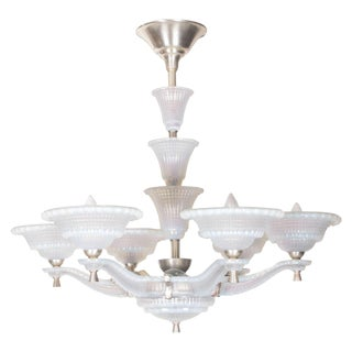 Large Opalescent Frosted Art Glass Six-Arm Chandelier Signed Ezan For Sale
