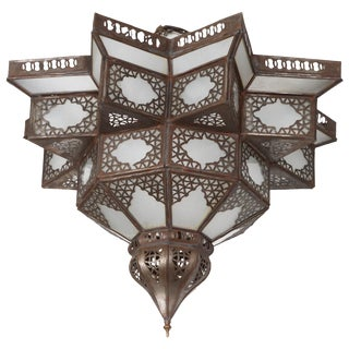 Moroccan Moorish Star Shape Frosted Glass Lantern Light Shade For Sale