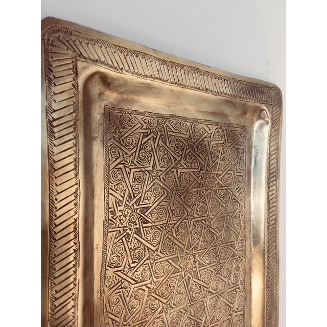 Spanish Moorish Rectangular Brass Tray For Sale In Los Angeles - Image 6 of 12