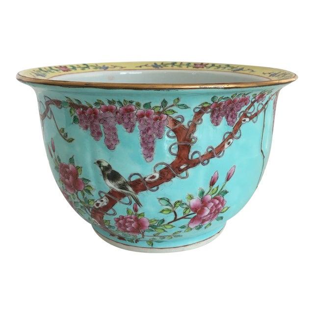 Chinese Famille Cherry Blossom Cache Pot | Chairish