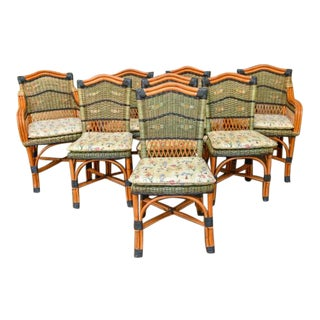 Grange Stained Rattan and Wood Dining Chairs-Set of 8 For Sale