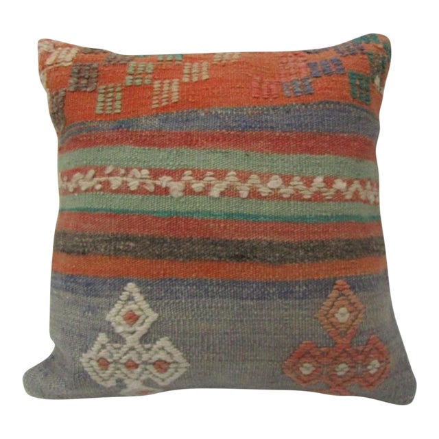 Vintage Handwoven Orange and Blue Striped Turkish Kilim Pillow Cover For Sale