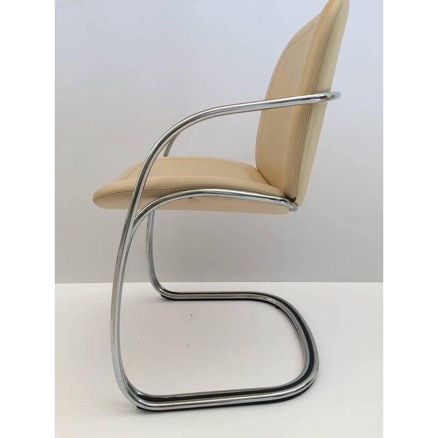 1970s Vintage Gastone Rinaldi for Rima Italian Chrome and Leather Chairs- Set of 4 For Sale In Los Angeles - Image 6 of 11