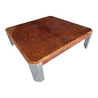 Burled Walnut and Chromed Steel Coffee Table Designed by Leon Rosen for Pace C. 1970s For Sale