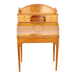 Quality 1930s Inlaid Satinwood Edwardian Adams Style Cylinder Desk For Sale