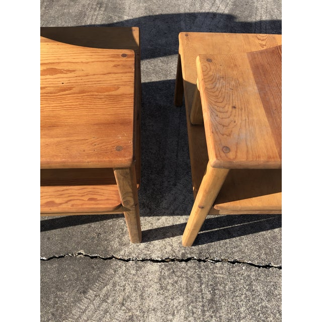 Brown Large Pine Square Two Tier Side Tables - a Pair For Sale - Image 8 of 11