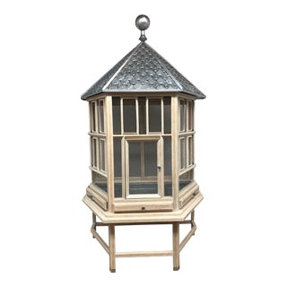 21st Century Pagoda Style Metal & Wood Birdcage For Sale