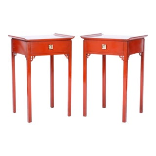 Mid Century Red Pagoda Stands - a Pair For Sale