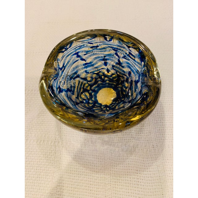 Mid-Century Modern Blue and Gold Swirl Ashtray Bowl For Sale - Image 4 of 8