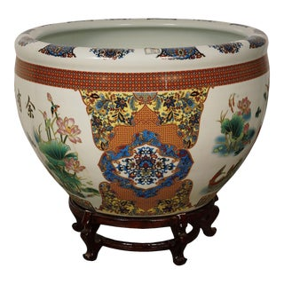 Early 20th Century Antique Chinese Famille Rose Porcelain Fish Bowl Planter With Stand For Sale