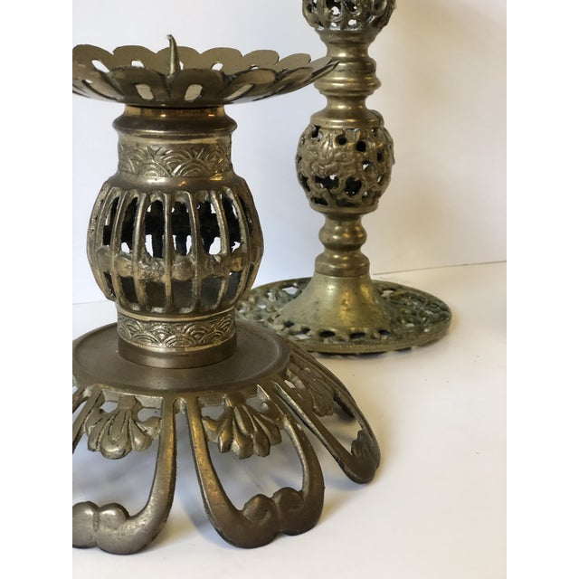Metal 1970s Brass Bohemian Candlesticks - Set of 3 For Sale - Image 7 of 11