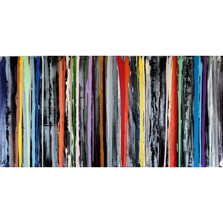 John Platt Lily Multi Colors Striped Horizontal Painting 2018 For Sale