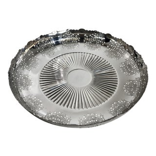 "Traditional Silver Plated Footed Bowl Prata ""90 Art Portuguese Etched Stamped Vintage For Sale"