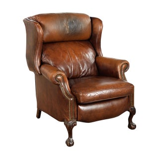 Vintage Reclining Brown Leather Chair For Sale