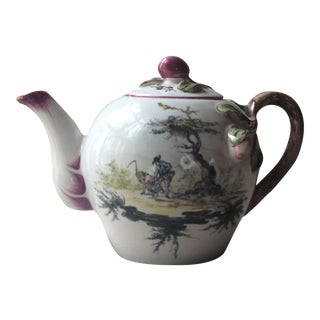 Late 18th Century Antique French Provincial Hand Painted Teapot For Sale